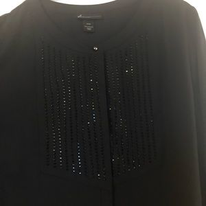 Black long sleeve top with jet black beads